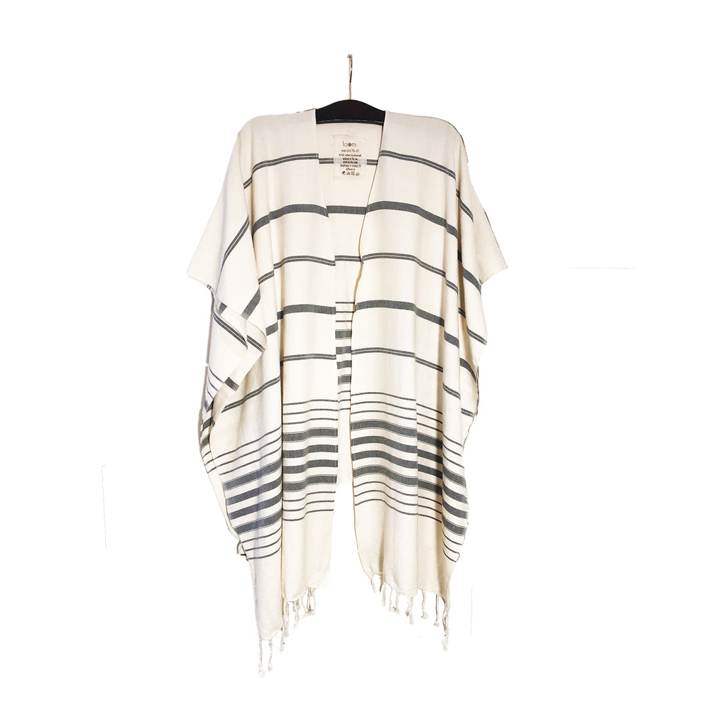 Striped Beach Kimono: Natural and Grey