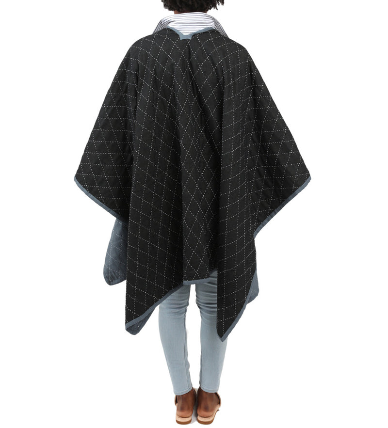 Diamond Poncho: Black/Dark Grey