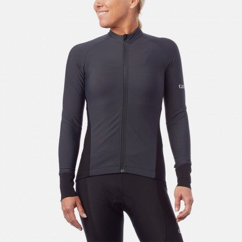 GIRO W'S CHRONO THERMAL LS JERSEY CHARCOAL - SMALL