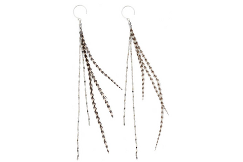 Glistening Feather Earrings - Silver/Stripe