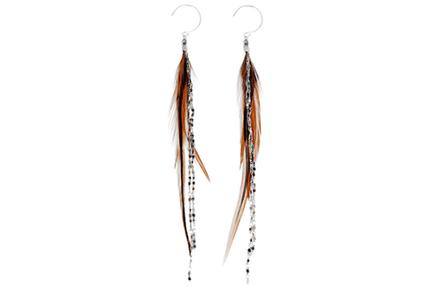 Glistening Feather Earrings - Silver/Tan
