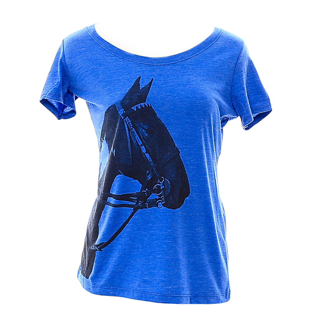 Women's Blue Tobiana Horse Head T-shirt