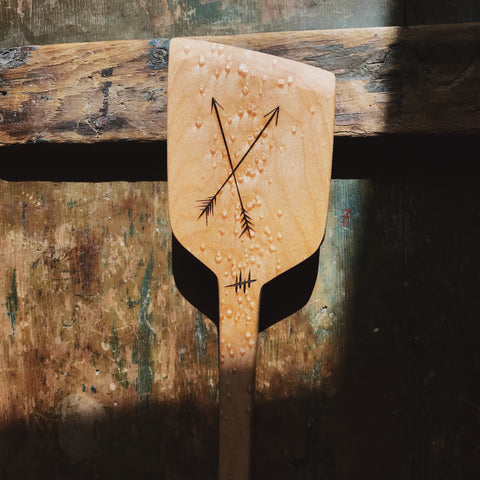 Handcrafted Tiger Maple Spatula - Arrows