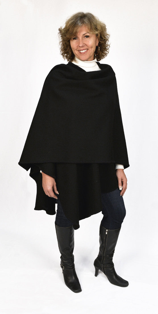 Calendar Island Merino Wool Shawl - Midnight Black