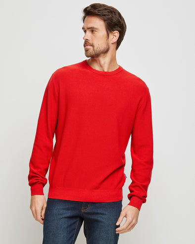 Cotton Textured Crew Neck - Red