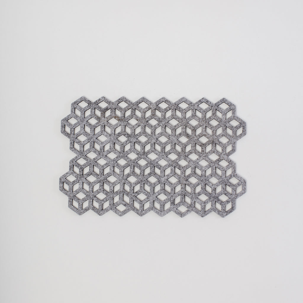 stone grey geometric placemat, laser cut felt, made by Alljoy design in Dublin data-zoom=