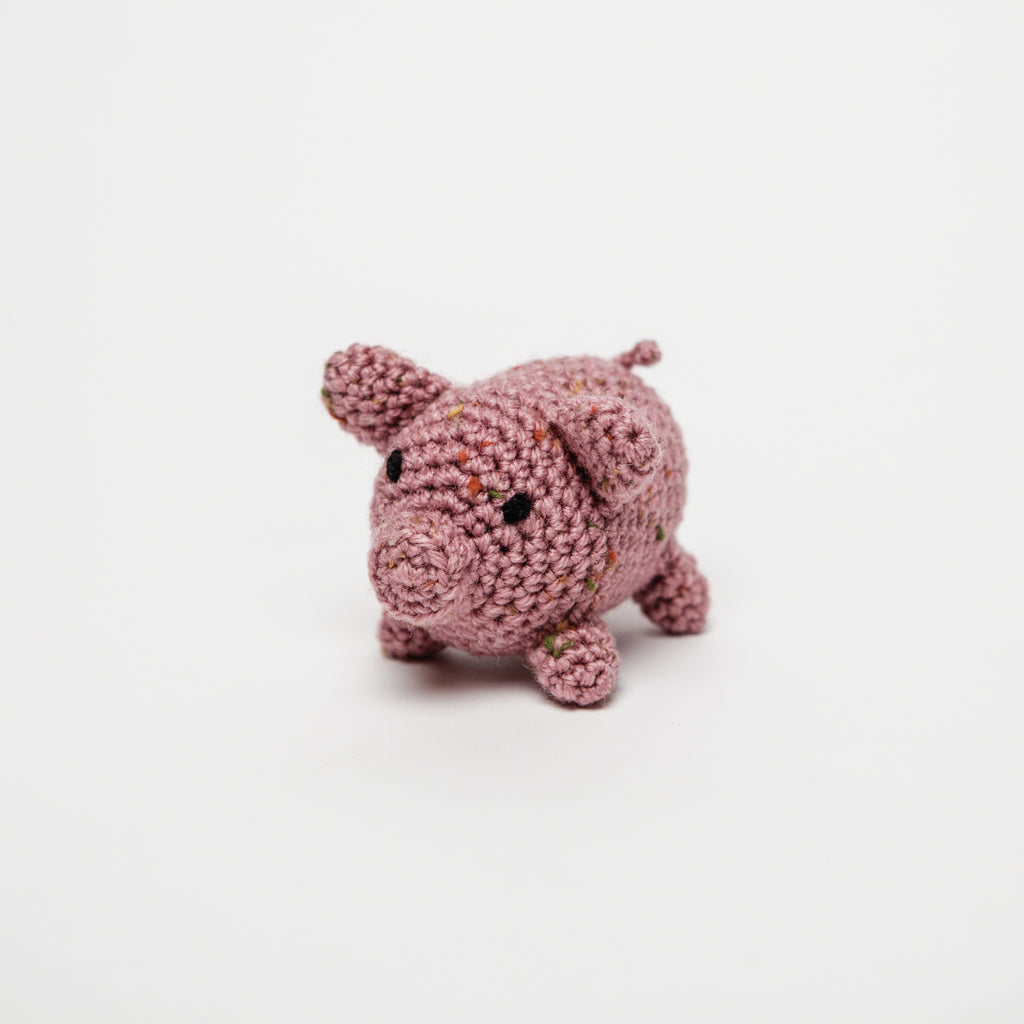 adorable pink crocheted piglet, Rosie the Dublin pig, small thoughtful baby gifts data-zoom=