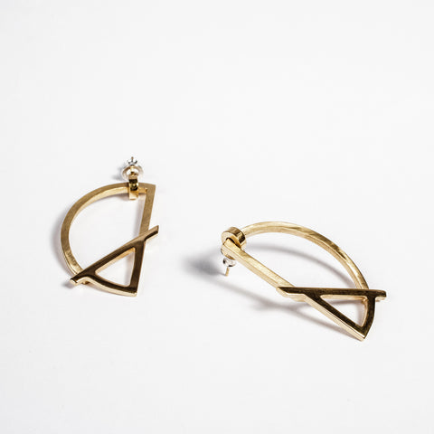 Funky gold statement earrings, Irish made jewellery, best presents for girlfriends