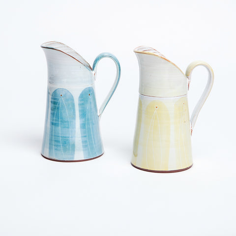 Traditional Irish jug with contemporary pattern glaze, available in signature blue and yellow, versatile Irish jug, with wide lip and comfortable handle.