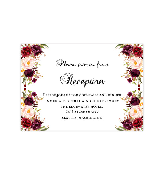 Wedding Reception Invitations Burgundy, Red, Blush Pink, Marsala Printable Template