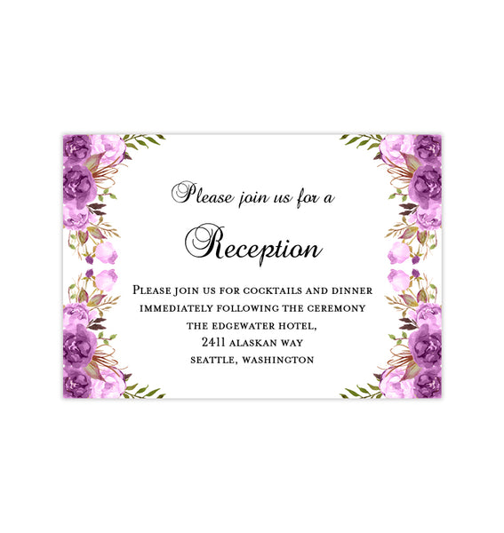 Wedding Reception Invitations Purple, Lavender & Lilac Romantic Blossoms DIY Printable