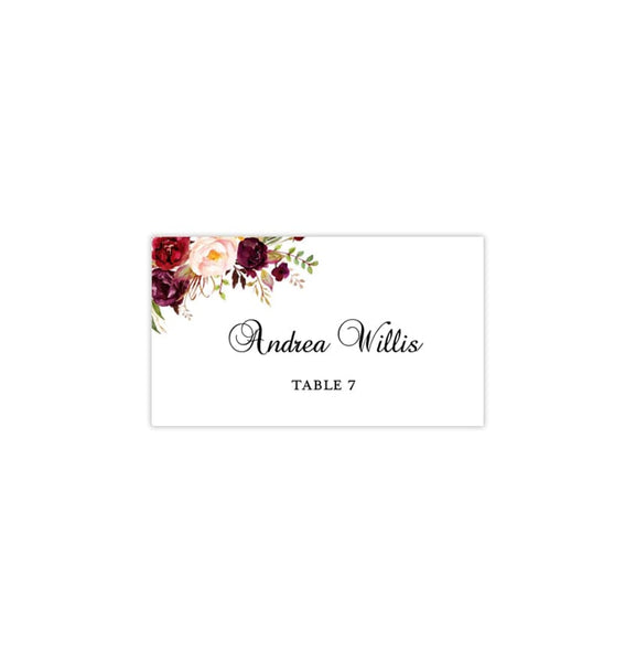 Wedding Seating Card Tent Burgundy, Red, Blush Pink, Marsala Romantic Blossoms Printable DIY
