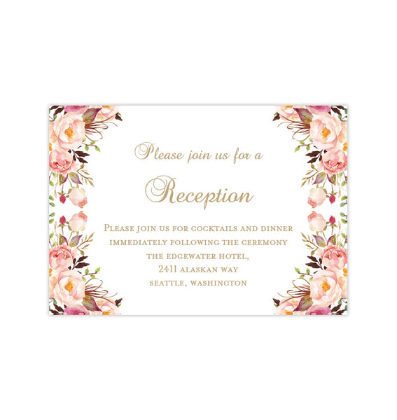 Wedding Reception Invitations Romantic Blossoms DIY Printable Templates