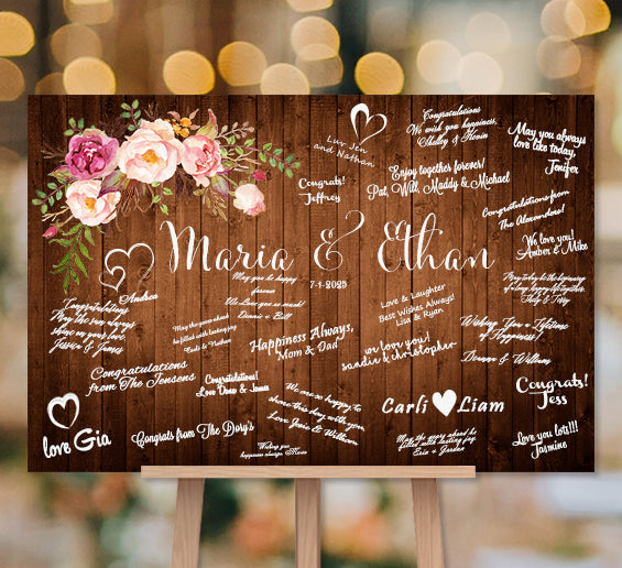 Wedding Guest Book Alternative Idea Romantic Blossoms Poster Canvas