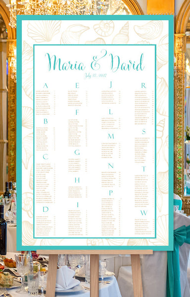 Wedding Seating Chart Poster Seashells Turquoise Sand