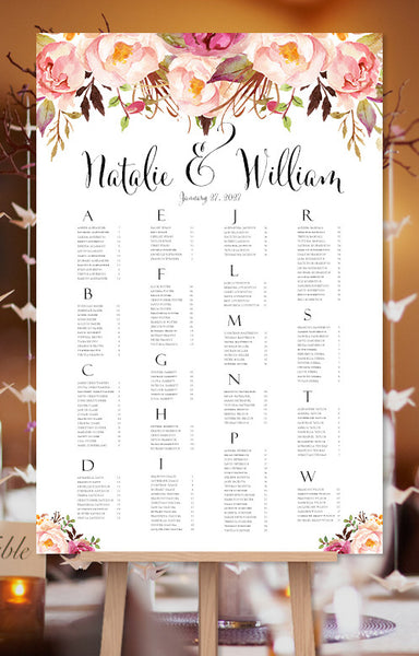 Wedding Seating Chart Poster Watercolor Floral 1