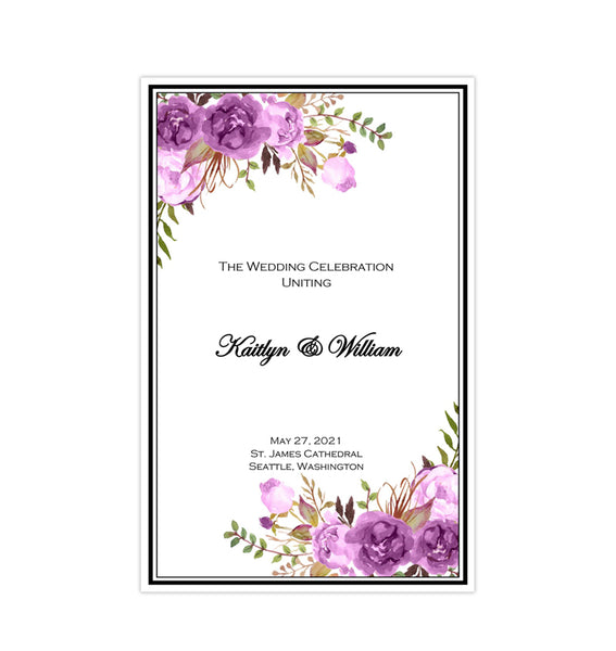 Catholic Church Wedding Program Romantic Blossoms Purple, Lavender & Lilac Printable DIY