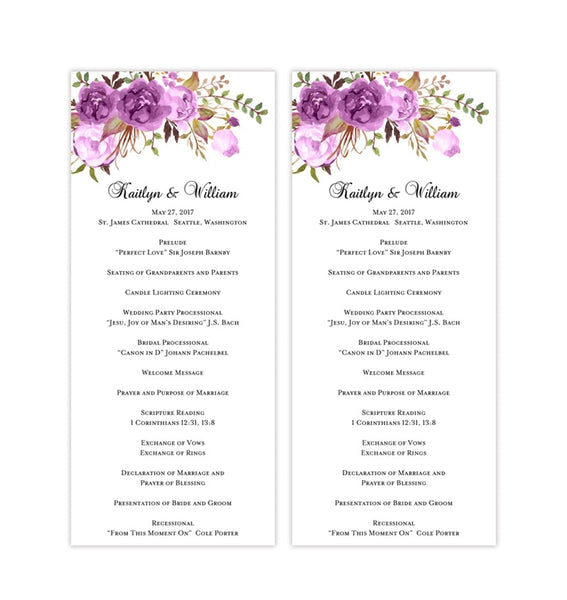 Slim Wedding Program Romantic Blossoms Floral Purple, Lavender & Lilac Printable DIY Templates