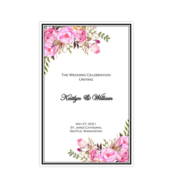 Catholic Church Wedding Program Romantic Blossoms Pink & Blush Printable DIY