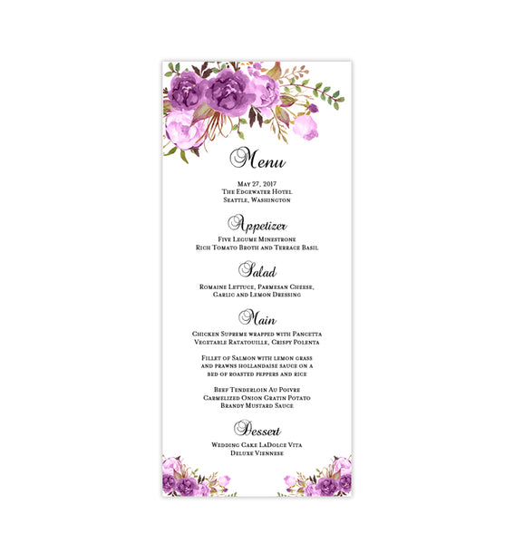 Wedding Menu Card Romantic Blossoms Purple Printable DIY Template
