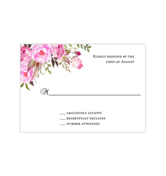 Wedding Response Cards Pink & Blush Romantic Blossoms Printable DIY Templates
