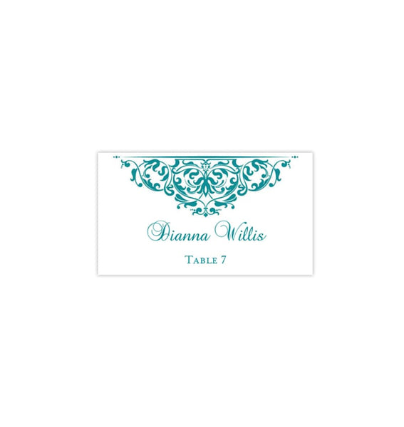 Printable Wedding Place Cards Grace Teal Flat DIY Place Template