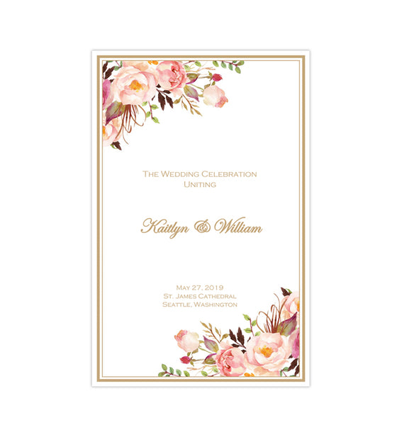 Catholic Church Wedding Program Romantic Blossoms DIY Printable