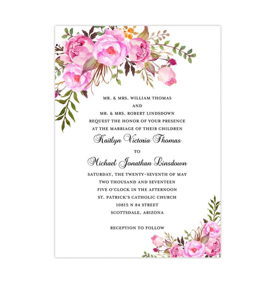 Printable Wedding Invitation Romantic Blossoms Pink Shades Printable DIY Templates