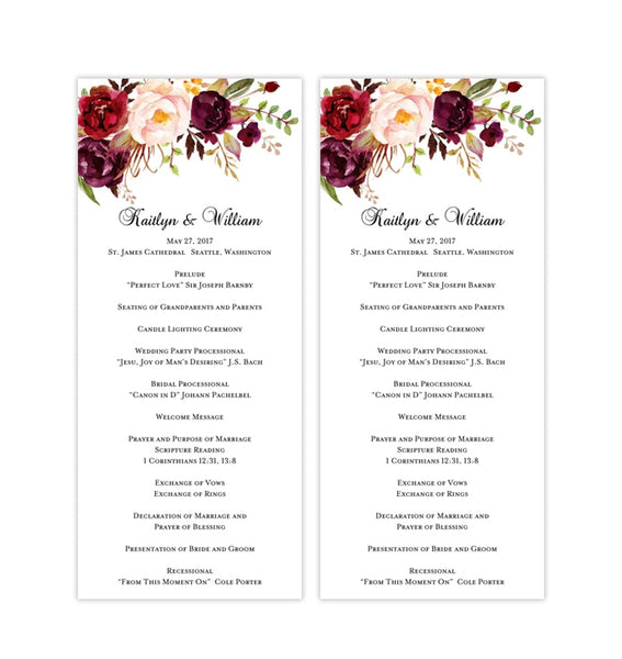 Slim Wedding Program Romantic Blossoms Floral Marsala Burgundy Printable DIY Templates