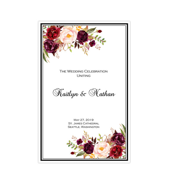 Wedding Program Template Burgundy, Red, Blush Pink, Marsala Romantic Blossoms Printable DIY
