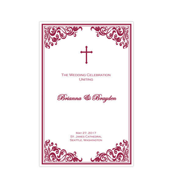 Catholic Church Wedding Program Faith Cherry Red Printable DIY