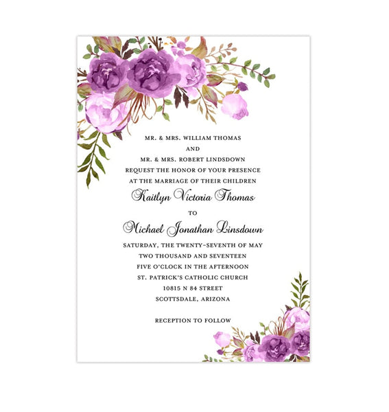 Printable Wedding Invitation Romantic Blossoms Purple Lavender Lilac Printable DIY Templates