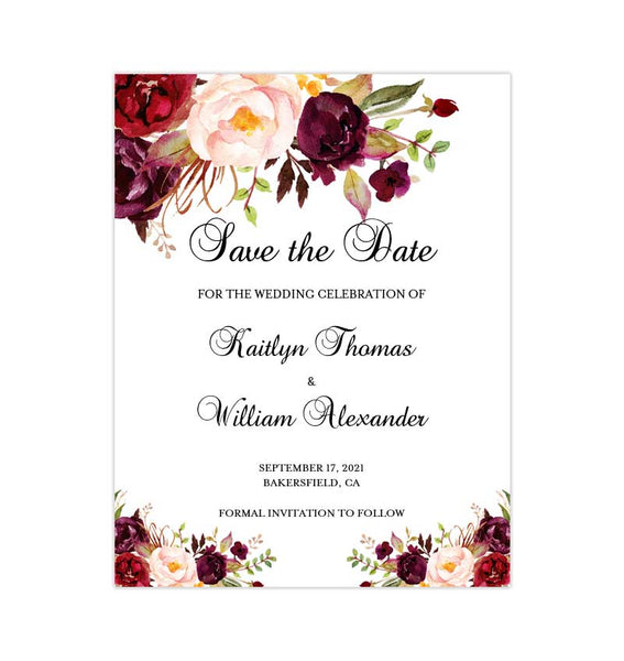 Wedding Save the Date Burgundy, Red, Blush Pink Marsala Romantic Blossoms Printable DIY Template