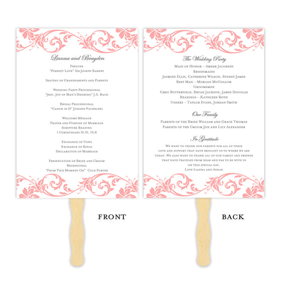 Wedding Program Fan Tropical Damask Coral Printable DIY Templates