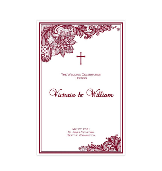 Catholic Church Wedding Program Vintage Lace Burgundy Printable DIY