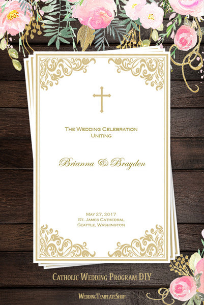 Catholic Church Wedding Program Faith Champagne Gold