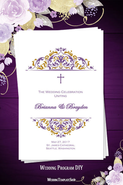 Catholic Church Wedding Program Grace Purple Gold