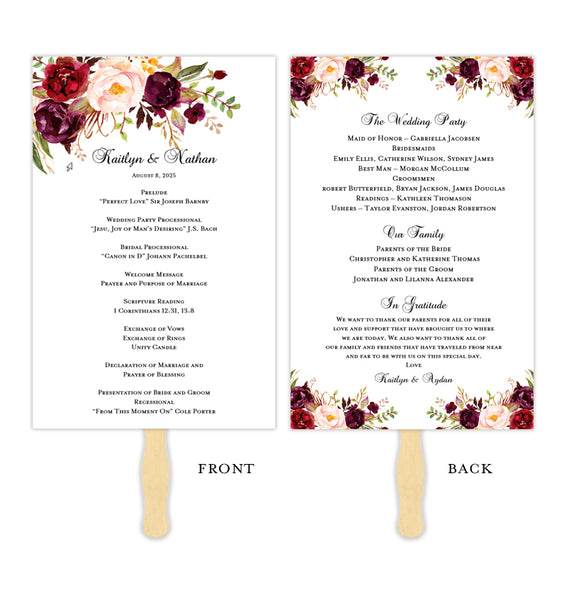 Wedding Program Fan Romantic Blossoms Burgundy, Red, Blush Pink, Marsala