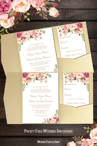 Pocket Fold Wedding Invitations DIY Romantic Blossoms