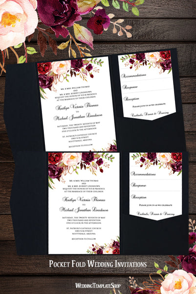 Pocket Fold Wedding Invitations Romantic Blossoms Burgundy Blush Marsala