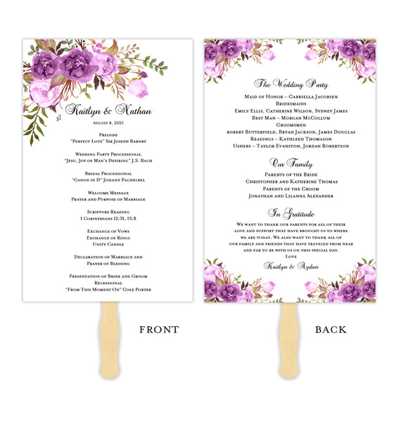 Wedding Program Fan Romantic Blossoms Purple, Lavender & Lilac
