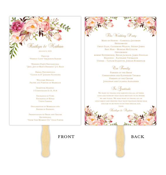 Wedding Program Fan Romantic Blossoms DIY Ceremony Program Printable