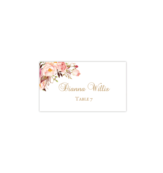 Wedding Seating Card Tent Romantic Blossoms Printable DIY