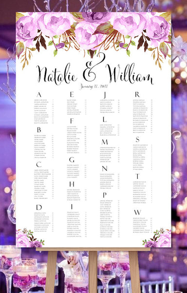 Wedding Seating Chart Purple Romantic Blossoms Watercolor Floral Print Ready Digital File