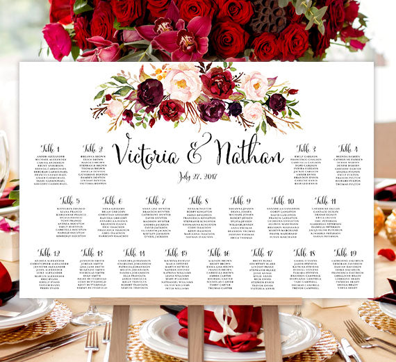 Wedding Seating Chart Poster Burgundy, Red, Blush Pink, Marsala Romantic Blossoms