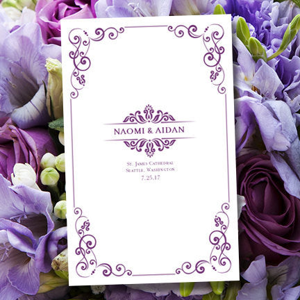 Catholic Church Wedding Program Julia Purple