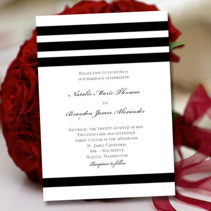 Simply Stripes Wedding Invitation Black White
