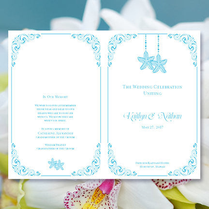 Wedding Program Template Love on the Beach Malibu Blue