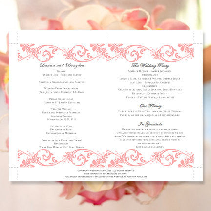 Wedding Program Fan Tropical Damask Coral