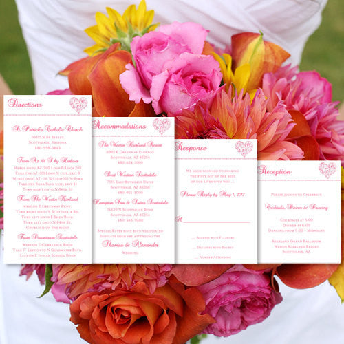 Pocket Fold Wedding Invitations Hearts Hot Pink 5x7